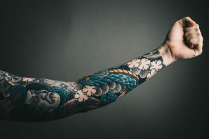 Abstract Leg Sleeve Tattoo